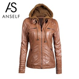 Wholesale Ladies Leather Hooded Jackets - Wholesale- Anself Fashion Black Faux Leather Jacket Women Long Sleeve Hooded Leather Jacket Ladies Zipper Motorcycle Coat Outerwear S-XXL