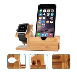 Wholesale Iphone Charge Stations - Wood Desktop Charging Dock Stand Mobile Phone Holder 3-in-1 For Samsung iPhone Charging Station Stand USB Charger