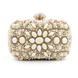 Wholesale Cell Phone Purses Handmade - Wholesale- Luxury 100% Handmade Beaded Flower Clutch Bag Nude Color Pearl Evening Bag Small Party Hand Bag Chain Purses Wedding Clutch 1236