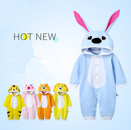 Wholesale Cat Jumpsuits - New autumn Baby Romper Long sleeve cartoon cat dog Jumpsuits 18 style kids Animal shape climbing clothing with hat top quality