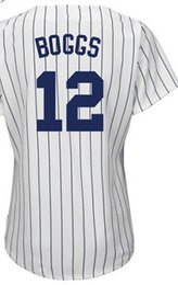 Wholesale Ladies Size 12 Shorts - Women's #12 Wade Boggs Baseball Jerseys Ladies Shirt White Blue Grey Pink Fashion Stitched Size S-2XL