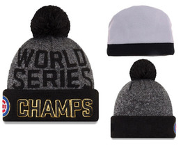 Wholesale Soccer Wholesale Beanie Hats - Cubs 2016 World Series Champions Beanies Men's Knit With Pom Hat Hot Sale Baseball Beanies Top Quality Winter Baseball Knitted Hats