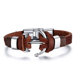 Wholesale Cow Plates - Top Fashion Pirate Style Alloy Stainless Steel Anchor Bracelet For Men Genuine Cow Leather Bracelet Jewelry Bracelets and Bangles