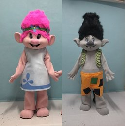 Wholesale Mascot Outfits - ohlees actual picture New Trolls Mascot Costume poppy branch Parade Quality Clowns Halloween party activity Fancy Outfit