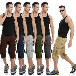 Wholesale Mens Army Camo Cargo Pants - New Fashion Mens Casual Military Army Style CARGO CAMO Combat Work Pants 100%Cotton Multi-Pocket Men's Cargo Trousers 6colors