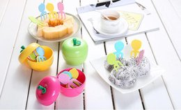 Wholesale Fruit Containers - Cute ABS Lovely Fruit Fork 10Pcs Set With Apple Shape Box Container Kids Cake Dessert Forks Toothpick