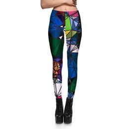 Wholesale Colorful Pants For Women - Hot Womens Irregular Colorful Print Casual Fitness Slim Leggings Pants For Women Plus Size Fashion Active Skinny Pencil Trousers