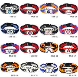 Wholesale Baseball Silver Charm - MLB Jewelry Baseball Bracelet Baseball Fans Gifts Baseball Team Bracelets Parachute Cord Survival Bracelet Survival Straps Bracelet