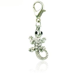 Wholesale Charms Crocodiles - Fashion Floating Lobster Clasp Charms White Rhinestone Crocodile Animal Pendants DIY Charms For Jewelry Making Accessories