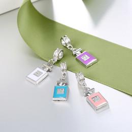 Wholesale Perfume Enamel - Alloy Enamel Colorful Crystal Jewelry Fashion 5 Perfume Bottle Pendant Necklace Bracelet for Women Jewelry Making XZ195