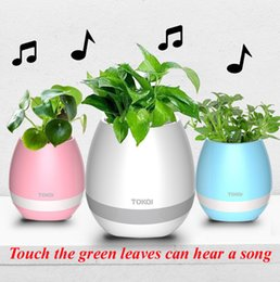 Wholesale Plastic Outdoor Plants - Bluetooth Smart Music Flower pots intelligent real plant touch play flowerpot colorful light long time play bass speaker without plant