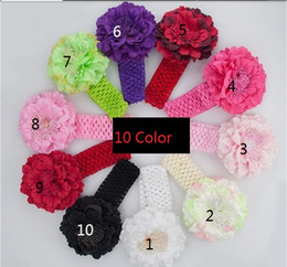 Wholesale Purple Flower Girl Headbands - 10PCS children Accessories Kids Peony Flower Hair Clip with Stretchy Crochet Headband for Girl Pettiskirt Creative A041