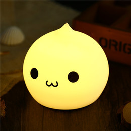 Wholesale Water Night Lights - Wholesale- Mini Cartoon LED Colorful Silicone Water Drop Night Light Kids Baby Bedside Lamp Atmosphere Led Gift Light Bedside Lamp