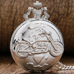 Wholesale Vintage Bolso - Wholesale-Vintage Retro Silver Color Motorcycle Motorbike MOTO Pocket Watch Necklace Pendant Quartz Watch Relogio De Bolso Men Gift