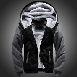 Wholesale Order Hoodies - PERWOMAN USA SIZE 2018 Men Winter Autumn Hoodies Blank pattern Fleece Coat Baseball Uniform Sportswear Jacket wool make to order designs
