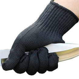 guantes anti-corte Rebajas Seguridad 5A grado Anti-corte antideslizante caza al aire libre guante de pesca resistente al corte filete protector cuchillo filete hilo tejido negro