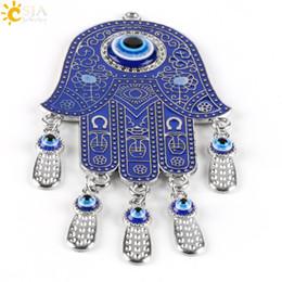 Wholesale Hanging Charms Pendant - CSJA Islam Religious Hamsa Hand Pendant Blue Fatima Evil Eye Wall Hanging Pendulum Jewish Kabbalah Amulet Gift Protection Muslim Charms E422