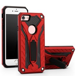 Wholesale One For Hid - For Apple iphone 7 7plus tpu +pc two in one shockproof hidden support helmet anti dropping brackt cell phone case