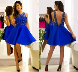 Wholesale Like Sheer Cocktail Dress - Royal Blue Knee Length Cocktail Dresses Sexy Backless Mini Party Dress Lace Appliqued Sheer Beaded Vintage Homecoming Dresses Cheap