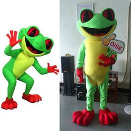 Wholesale custom mascots costumes - OISK Custom made green happy Crazy chacha frog cartoon Mascot costumes for Halloween party activity Fancy dress adult size free shipping
