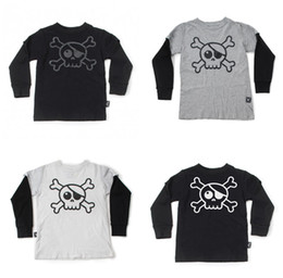Wholesale Cool Boys Tees - Fashion Kids T-shirt Long sleeve Unisex Cool Skull Print Tops Tees Fake two-piece Boys clothing Cotton Black white Grey 2017 Fall Spring