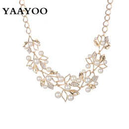 Wholesale Yellow Pearl Flower Necklace - YAAYOO Imitation Pearl Rhinestone Flowers Leaves Metal Yellow White Color Statement Necklace Women Jewelry