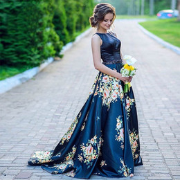 Wholesale Evening Dresses Factory Sale - Factory Direct Sale 2017 Jewel Collar Sexy Low Back Floral Printed Waist Beaded Natural Waist Formal Evening Dresses HB19