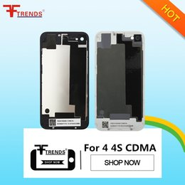 Wholesale Gsm Battery - Back Glass Battery Housing Door Cover Replacement Part GSM for iPhone 4   4 CDMA   4S Black White Color Free Shipping