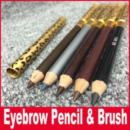 Wholesale Leopard Makeup - Waterproof Eyebrow Pencil With Brush Make Up Leopard Eyeliner maquiagem 5 Colors Shadow To Eyebrow Metal Makeup Tool