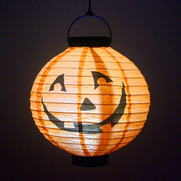Wholesale Chinese Garden Lamps - Solar Halloween pumpki lamps outdoor solar garden lights waterproof nylon 10in 8in 6in white RGB Color chinese lanterns led solar lights