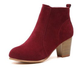 Wholesale Flocking Fabrics - Women Ankle Boots Square High Heel Boots for Woman Fashion Zip Black Autumn Winter Womens Boots Shoes size 35-41