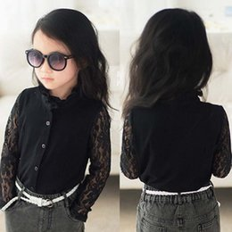 Wholesale Cheap Blouses Tops Lace - Cheap Lace Girls Tops Blouses Black Children Shirts Girls Long Sleeve Shirts New 2017 Girls Clothes Kids Clothing Children Wear A758