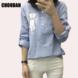 Wholesale Women Blouse Cartoon - Wholesale- Blouse Shirt Female Cotton Linen 2017 New Summer Stripe Sweet Cartoon Cat Embroidery Shirts Women Tops Ladies Clothing