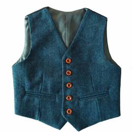 Wholesale Kids Suits For Weddings - 2017 Custom Made Boy's Formal Wear Blue Herringbone Tweed Vest Cheap Sale Only Vest For Wedding Kids Boy Formal Wear