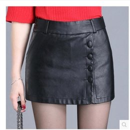 Wholesale Vintage Black Leather Skirt - Women's Vintage High Waist Bodycon PU Mini Skirt Women'S Faux Leather above Knee Pencil Skirts - Solid