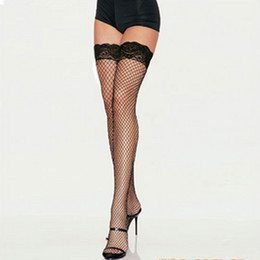 Wholesale Wholesale Sexy Stockings - Wholesale- Lace Top Hollow Fishnet Thigh High Womens Sheer Body stocking Sexy Stockings Hot