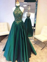 Wholesale Diamond Evening Gowns - 2017 Emerald Green Prom Dresses High Collar with Crystal Diamond Arabic Evening Gowns Long Lace Dubai Evening Dresses Custom