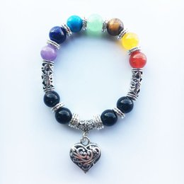 Wholesale Seven Strings - 10mm seven chakra yoga multi-color agate Buddha beads hand string colorful peach heart bracelet chakra factory direct QQ