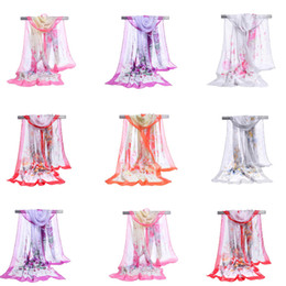 Wholesale Long Scarves For Summer - Factory Wholesale Silk Chiffon Scarf Long Woman Scarf Summer Pashminas For Women Florial Print Scarves 160*50cm DHL free
