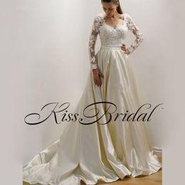 Wholesale Silver Satin Wedding Reception - Lace Satin 2018 Long Sleeves Wedding Dresses Illusion Back sweep Train Vintage Simple Bridal Gowns Wedding Reception Dress