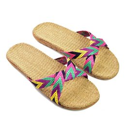 Wholesale Flax Medium - 2017 Fashion Flax Home Slippers Indoor Floor Shoes Cross Belt Silent Sweat Slippers For Summer Women Sandals
