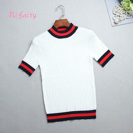 Wholesale White Cashmere Top - Free Shipping 2017 White Striped Shorts Sleeves Women's Sweaters Brand Same Style Pullovers Women Summer Tops M061733