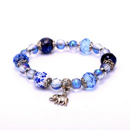 Wholesale One Direction Wood - Julie Jewelry One Direction Blue Crystal Bead Elephant Charm Bracelet for Women Men Jewelry Elastic Bracelets Bangle Pulseiras