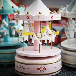 Wholesale Carousel Music Box Wooden - 2017 New Style Handwork Children Kids Girls Boy Wooden European carousel Music Box Birthday Gift Toy Home Decoration