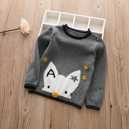 Wholesale Kids Knit Sweaters - Boys Knit Cartoon Pullover Kids Boys Knitting Floral Fox Sweater Babies Autumn Fashion Jumper tops 2017 Childrens clothing