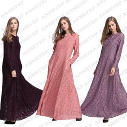 Canada Musulman Femmes Robes Nouvelle Arrivée Mince Crayon Longue Robe Maxi Dentelle Turc Abaya Moyen-Orient Surdimensionné Manches Longues Floral Dentelle Dress Offre