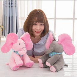 Wholesale electric baby dolls - Peek-a-boo Elephant Baby Plush Toy Singing Stuffed Animated Doll Gift Elephant Dog Stuffed Animals Hide and seek Electric music Plush Toys