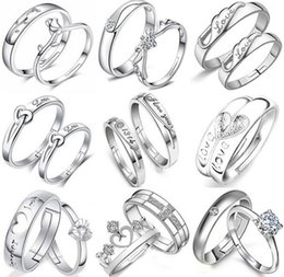 Wholesale Variety Wedding Gifts - 12 Styles Variety Opening Crystal Couple Rings 30% 925 Sterling Silver 3 layer White Gold plating Austrian Zircon Rings Christmas Gift 12pai