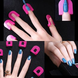 Wholesale Nail Tip Protector - 26Pcs pack Professional French Nail Art Manicure Stickers Tips Finger Cover Polish Shield Protector Plastic Case Salon Tools Set