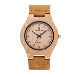 Wholesale Gold Bamboos - TW1652 wood watch Novel cool Bamboo Wooden Watch Men stylish Relogio Masculino Men's Watch Quartz leather band Wristwatch casual watches